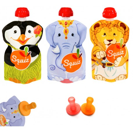 Squiz animaux pack de 3 - 130 ml + 2 embouts