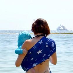 Porte-bébé sling Sukkiri bleu étoilé
