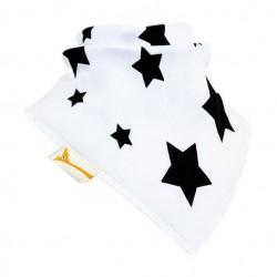 Bavoir bandana Funky Giraffe - Stars en blanc et noir